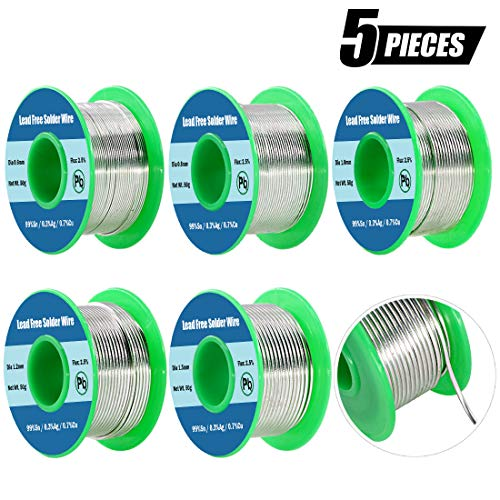 Swpeet 5Pcs 5 Sizes Lead Free Solder Wire with Rosin Core, Sn 99% Ag 0.3% Cu 0.7% for Electrical Soldering - 0.6mm/0.8mm/1.0mm/1.2mm/1.5mm