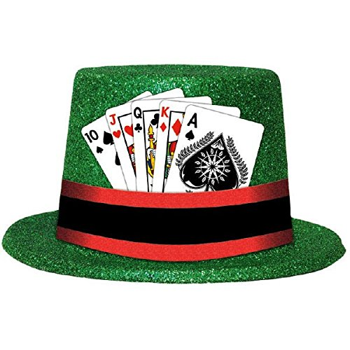 [Casino Party Glitter Top Hat with Playing Cards Costume Headwear, Plastic, 5