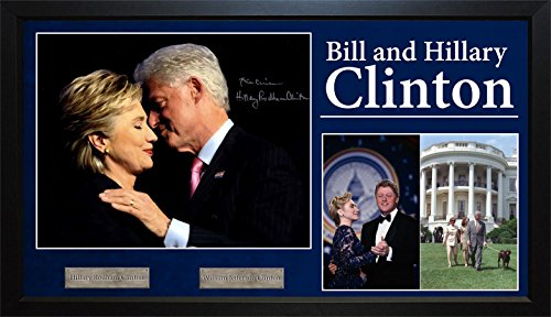 Clinton Bill Case (Bill + Hilary Clinton Autographed Signed 11x14 Photo With Custom Display Case)