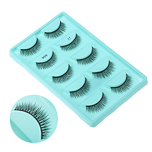 Anself 5 Pairs False Eyelash Voluminous Upper Long Black Thick Fake Eye Lashes Hand-made Natural Soft