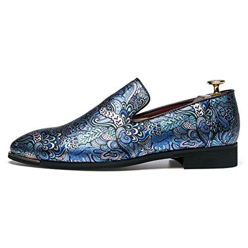 amp;LV Hombre Azul Zapatos con Lin Cordones de Planos Charol P7waA7