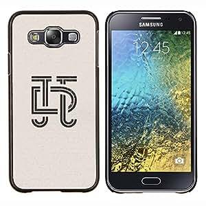 EJOOY---Cubierta de la caja de protección para la piel dura ** Samsung Galaxy E5 E500 ** --art deco letras de caligrafía diseño insignia