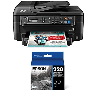 Epson WF-2750 All-in-One Wireless Color Printer with Scanner, Copier & Fax and Epson DURABrite Ultra Black Dual Pack Standard Capacity Cartridge Ink for Select Epson Printer (T220120-D2) Bundle