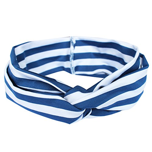 Navy Blue Striped Headband - iEFiEL Baby Girls Elastic Striped Knotted Hair Band Headband Head Wrap (Navy Blue)
