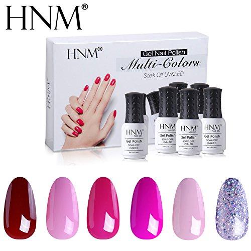 - HNM Gel Nail Polish Set Soak Off UV LED Nail Varnish Manicure Salon Nail Art Starter Kit 6 Colors Gift Box C005