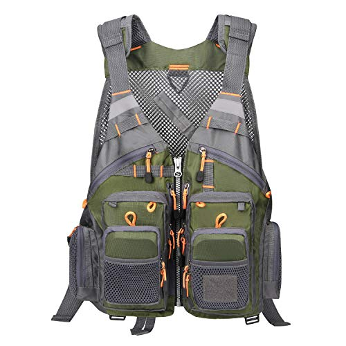 Magreel Fly Fishing Vest for Men and Women, Comfortable Fishing Vest with Adjustable Shoulder & Waist, Reflective Strips, Multiple Pockets for Fly Fishing, Kayak Fishing Canoe Fishing