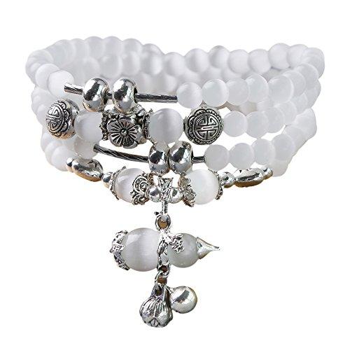 8mm Simulated White Cats Eye Beads Buddhist Prayer Mala Meditation Necklace Bracelet (White Cat Eye 2)