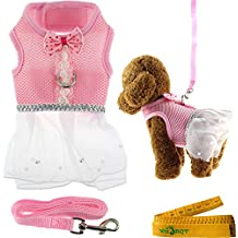 """Cute Elegant Pink Mesh Dog Cat Pet Vest Harness with Bow tie Lace and White Short Skirt Dress Artificial Pearls and Matching Leash Set for Dogs Cats Pets (Chest Girth: 11.8""""-13.4"""")"""
