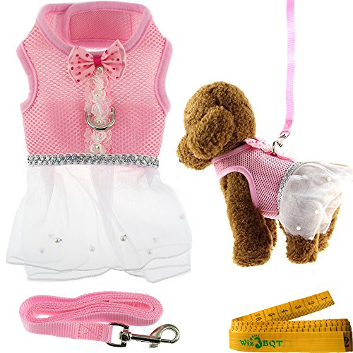 Dog Harness Dress Set - Cute Elegant Pink Mesh Dog Cat Pet Vest Harness with Bow tie Lace and White Short Skirt Dress Artificial Pearls and Matching Leash Set for Dogs Cats Pets (Chest Girth: 13.8