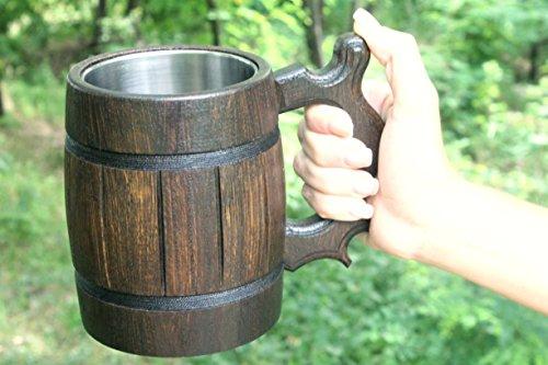 Wooden Beer Mug Eco-Friendly 20oz 0.6L Stainless Steel Cup Men Brown Wood Tankard Wedding Gift Beer Mug by WorldMaker | Exclusive Handmade goods (Image #4)