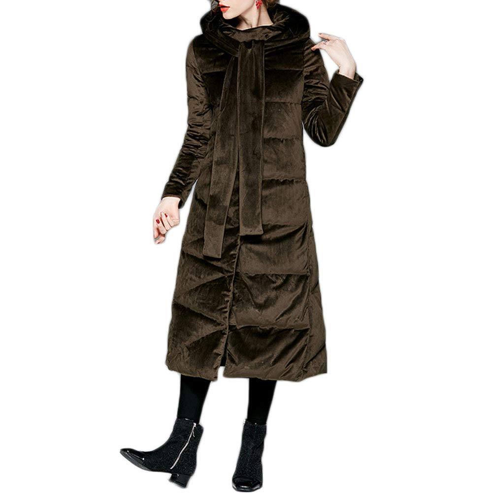 color2 Michealboy Women Winter Laceup Velour Classic Puffer Jacket Coat with Hood