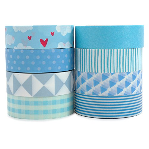 Crafty Rabbit The Blues Washi Tape - Set of 8 Rolls - 262 Feet Total - Blue for $<!--$12.99-->