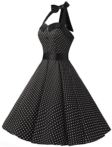 Dressystar Vintage Polka Dot Retro Cocktail Prom Dresses 50's 60's Rockabilly Bandage Black L by Dressystar (Image #1)