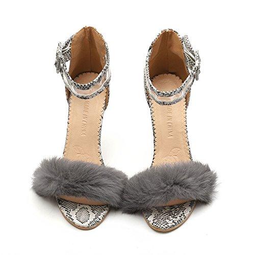 2018 Serpent avec Chaussures Femmes Ronde Haut Fine Taille Talon Boucle Sandales Gray Vraiment Nouveau Tête Boucle xie Modèle Cheveux Grande B4nYqdfXB