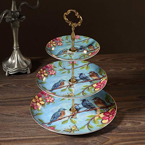 NDHT 3 Tier Porcelain Round Cake Plate Stand Dessert Display Cakes Platter Food Rack,White & Golden,Height:14.5''/Diameter:6''&8''&10'',Blue Bird,with a Gift Box -
