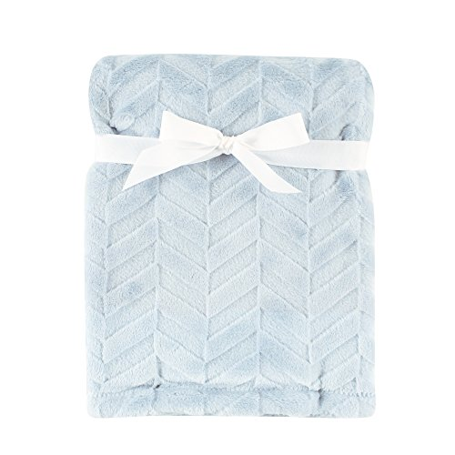 Hudson Baby Burnout Plush Blanket, Blue Chevron, 30'' x 40'' by Hudson Baby