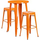 "Flash Furniture 24"" Round Orange Metal Indoor-Outdoor Bar Table Set with 2 Square Seat Backless Stools For Sale"
