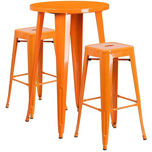 Flash Furniture 24'' Round Orange Metal Indoor-Outdoor Bar Table Set with 2 Square Seat Backless Stools