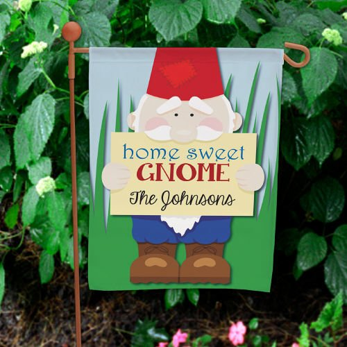 "Personalized Home Sweet Gnome Double Sided Garden Flag, 12 1/2"" w x 18"" h, Polyester (Sweet Gnome Gnome)"