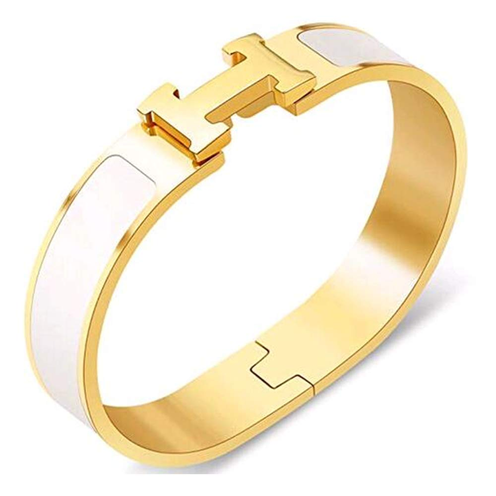 Buckle Bangle Bracelet 12MM Color Gold/White