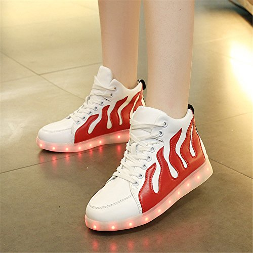 Annabelz Led Shoes High Top Uomo Donna Light Up Shoes Usb Lampeggiante Sneakers Lampeggianti Bianco / Rosso