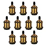 DiCUNO Vintage E26 E27 Lamp Socket, UL-listed Edison Retro Pendant Lamp Holder, Industrial and Decorative for DIY Lighting, 600℃ Heat Resistant Vintage Brass Color 10 Packages