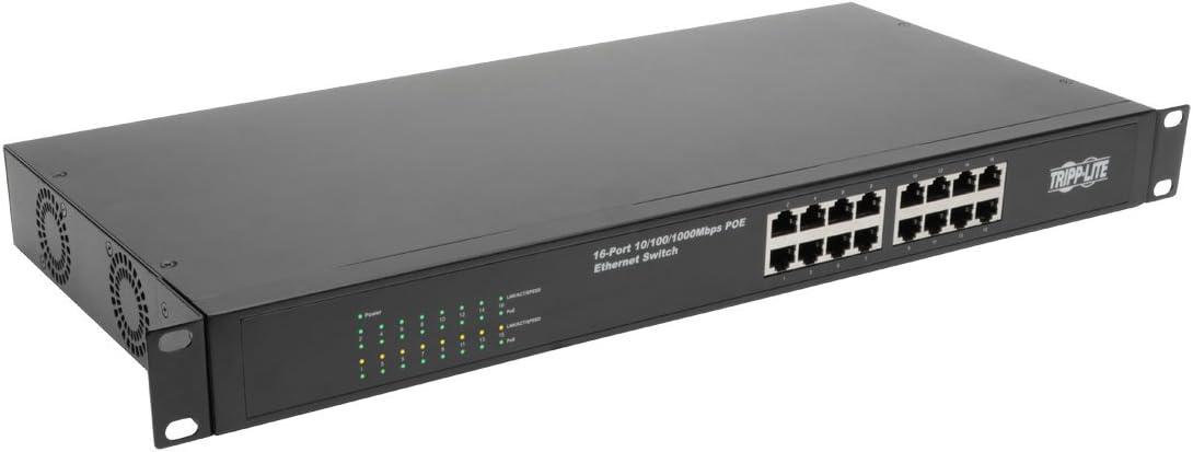 Tripp Lite 16-Port Gigabit Ethernet Switch Unmanaged w/PoE+ 260W Metal 10/100/1000 Mbps Rackmount / Desktop 1URM (NG16POE)