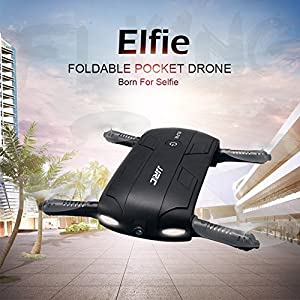 JJRC H37 Foldable Pocket Selfie Drone Quadcopter, GEEDIAR 2.4G 4CH Elfie Mini Wifi FPV RC Quadcopter with High Hold Mode 0.3MP Selfie Camera by GEEDIAR