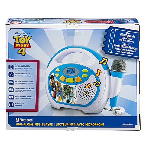 Toy Story 4 Bluetooth Sing Along Portable MP3 Player Real Working Microphone Stores Up To 16 Hours of Music with 1 GB Built In Memory USB Port To Expand Your Content Built In Rechargeable Batteries by eKids (Image #5)