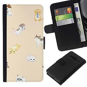 KLONGSHOP // Tirón de la caja Cartera de cuero con ranuras para tarjetas - gatitos lindos melocotón gato niños amarillas mascota - Samsung Galaxy Core Prime //