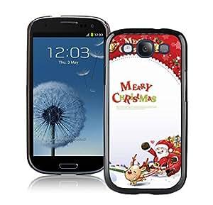 S3 Case,Colorful Merry Christmas Gifts Box Santa Grandpa Silicone Black Samsung Galaxy S3 Case,S3 I9300 Protective Case