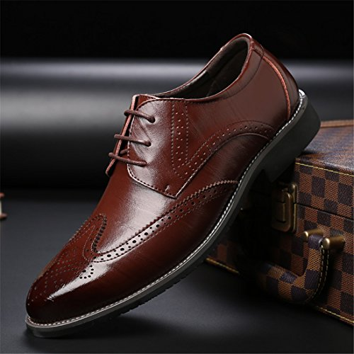 Mens Casual Work Lace-up Classic Multicolor Leather Vintage Oxford Shoes 7196 Brown u4Xsxrmr