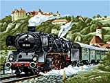 Shukqueen DIY Oil Painting, Adult's Paint by Number Kits, Acrylic Painting Steam Train 16X20 inch (Frameless)