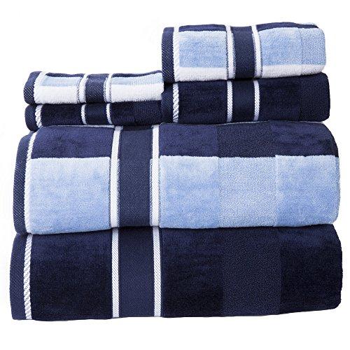 Solid Towel Set - Lavish Home 100% Cotton Oakville Velour 6 Piece Towel Set-Navy