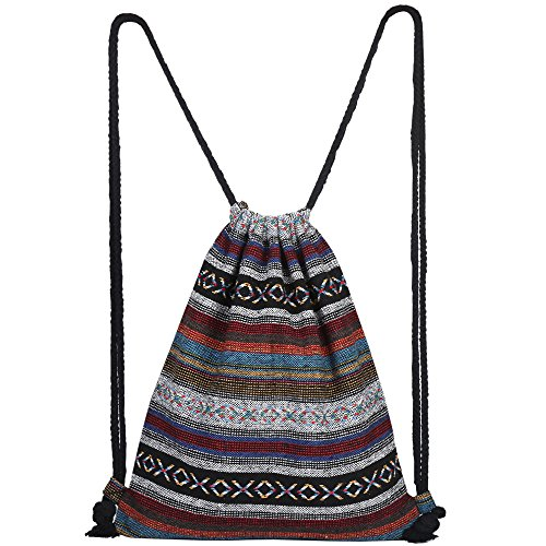 Knit Drawstring Bag - Farway Drawstring Bag Beach Vacation Bohemia Boho Style Gym Outdoor Backpack for girls Men & Women Travel Backpack