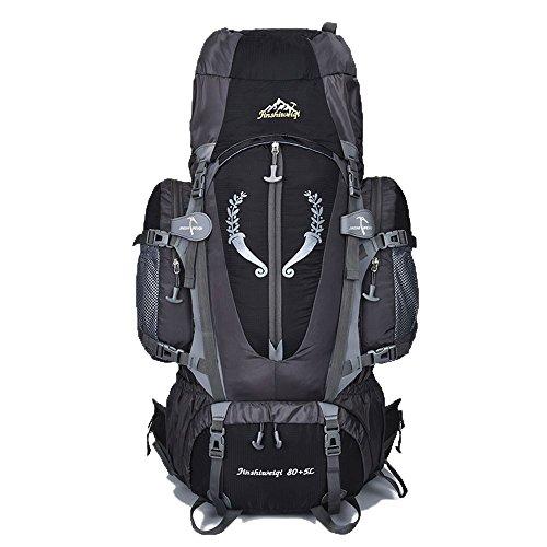 80 L + 5 L Internal Frame Backpack Outdoor Waterproof Backpack Climbing Fishing Rucksack Hiking Daypack Camping Outdoor Trekking Mountaineering Bag ( Black )