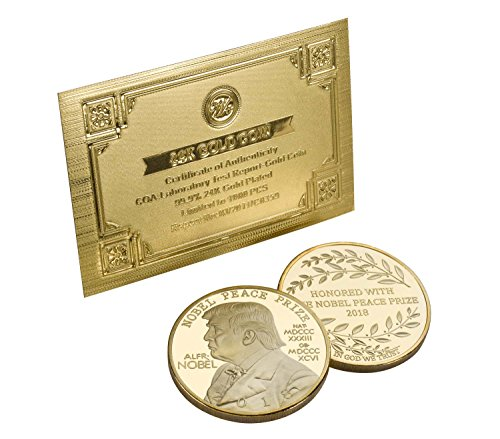 Donald Trump Nobel Peace Prize Coin 2018-24K Gold Plated Commemorative Edition.