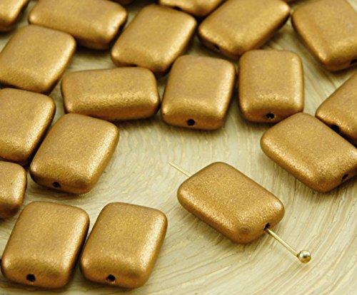 12pcs Matte Metallic Bronze Gold Flat Rectangle Czech Glass Beads 8mm x ()