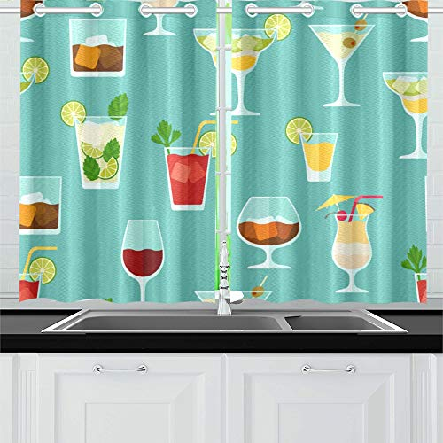 XINGCHENSS Cocktail Color Design Creative Romance Kitchen Curtains Window Curtain Tiers for Café, Bath, Laundry, Living Room Bedroom 26 X 39 Inch 2 Pieces