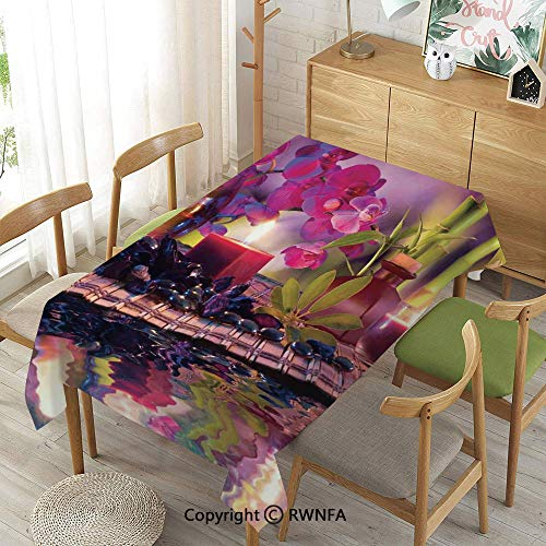 Bamboo Leaf Table Lamp - Homenon 100% Polyester Tablecloths for Rectangle Tables,Violet Composition Candles Oil Orchids and Bamboo on Water Natural Leaves,Waterproof Wrinkle Resistant,52