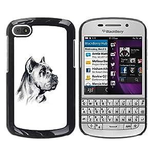 TopCaseStore / la caja del caucho duro de la cubierta de protección de la piel - German Mastiff Art Black White Dog - BlackBerry Q10