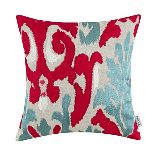 Euphoria CaliTime High Class Throw Pillow Cover Cotton Linen Blend Ikat Style Applique Embroidered. 18 X 18 Inches, Red Teal (Teal And Red)