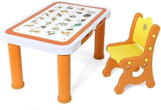 CTC Puede Levantar Mesas Y Sillas de Plástico para Niños - Jardín de Infantes de Múltiples Funciones Educación Temprana Mesa de Estudio Pintura Mesa de Juguete Hogar Mesa de Plástico Grueso Es: