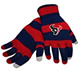 Official NFL Football Licensed Knit Stripe Glove with Texting Tips, One Size, HOUSTON TEXANS