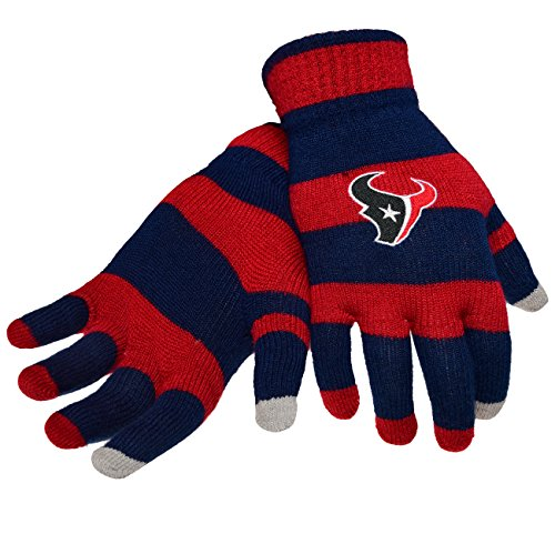 Official NFL Football Licensed Knit Stripe Glove with Texting Tips, One Size, HOUSTON TEXANS by FOCO