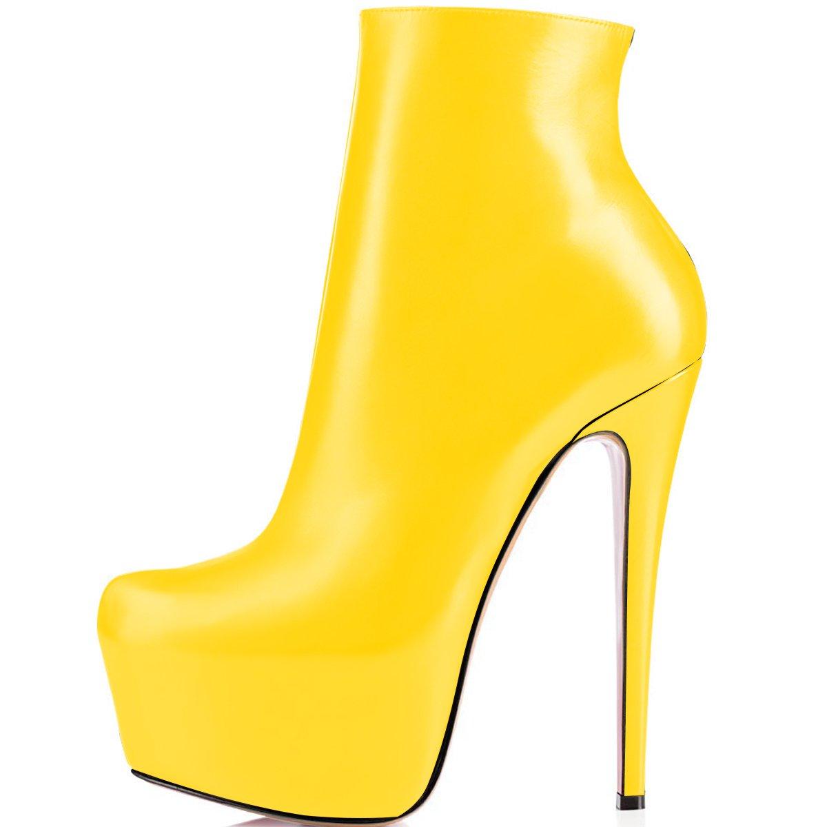 ELASHE Ankle Boots 15cmTrendige Damen Stiefeletten Plateau Stiefel mit Absatz37 EU|Gelb