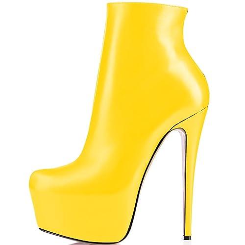 ELASHE Moda Zapatos de Botines 15CM Clásicos de Tacón Botas para Mujer Plataformas de Tacón: Amazon.es: Zapatos y complementos