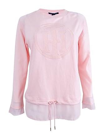 8fa9d5c59 Tommy Hilfiger Womens Sheer Trim Monogram Sweatshirt Pink L at Amazon  Women's Clothing store: