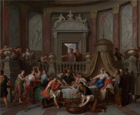 [The Perfect Effect Canvas Of Oil Painting 'The Banquet Of Cleopatra, Early 1700s By Gerard Hoet' ,size: 18x22 Inch / 46x56 Cm ,this Amazing Art Decorative Prints On Canvas Is Fit For Living Room Artwork And Home Artwork And] (Color Guard Costumes Rental)