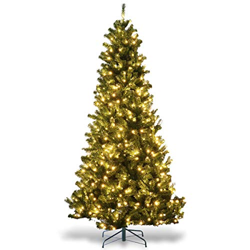 Goplus Artificial Christmas Tree Premium Spruce Hinged Tree with LED Lights and Solid Metal Stand, UL-Certified Transformer (7.5 ft, 1346 Branch Tips, 750 Lights)